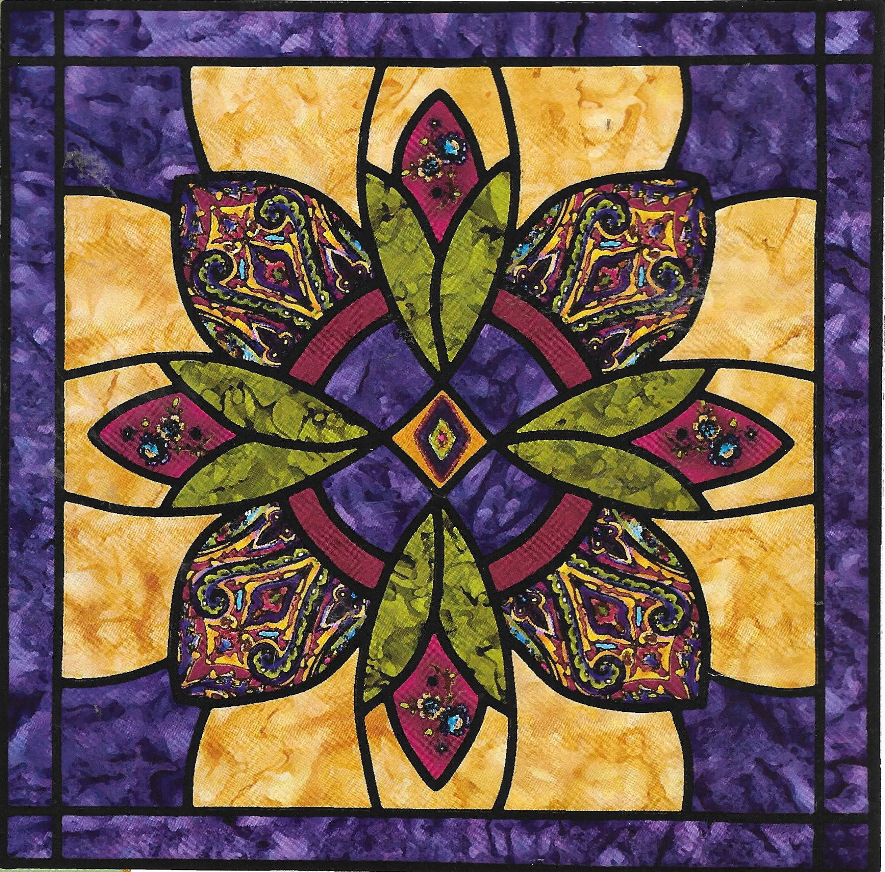Sewing with nancy regal medallion wall hanging 22 inch quilt sewing with nancy regal medallion wall hanging 22 inch quilt square cathedral window purple and gold stained glass pattern rare oop jeuxipadfo Image collections