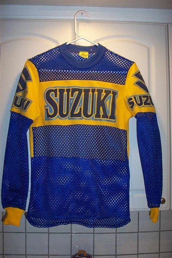 vintage suzuki motocross motorcycle racing jersey boys size 16