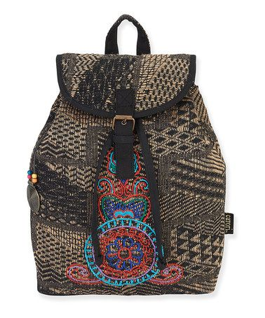 Loving this Black & Beige Embroidered Madori Backpack on #zulily! #zulilyfinds