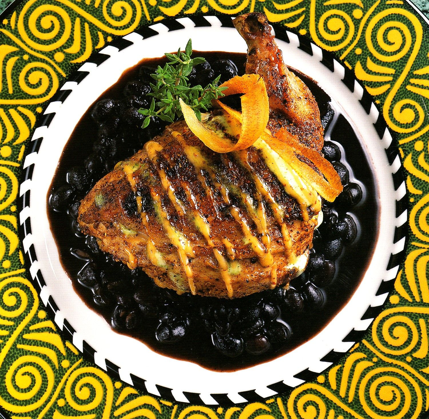 #Chicken Mofongo?  Yes please!  Sweet Plantain Stuffing ~ 'Very' Black Beans ~ Pineapple-Papaya-Cachaca Chutney