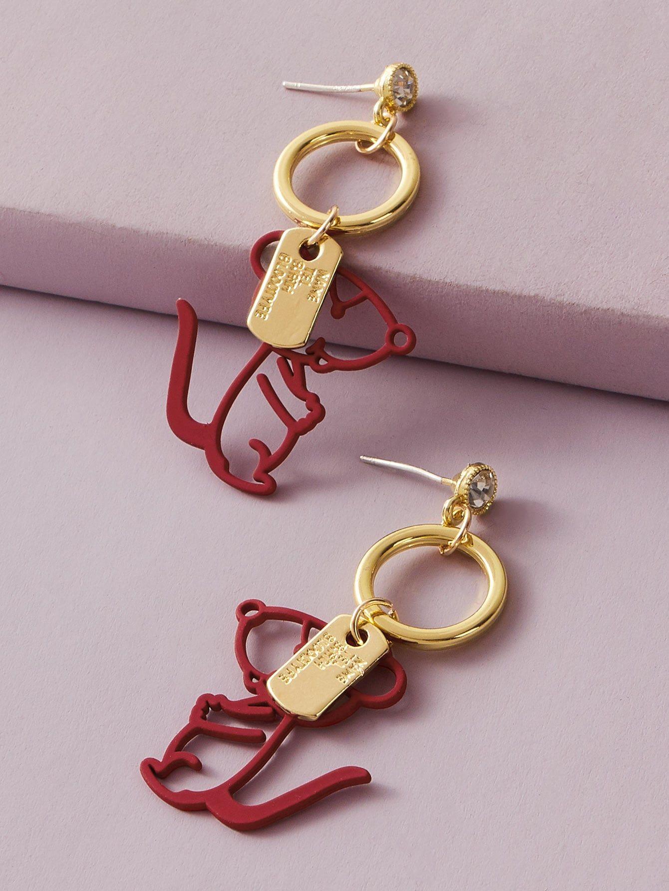 1pair Ring Decor Dog Drop Earrings