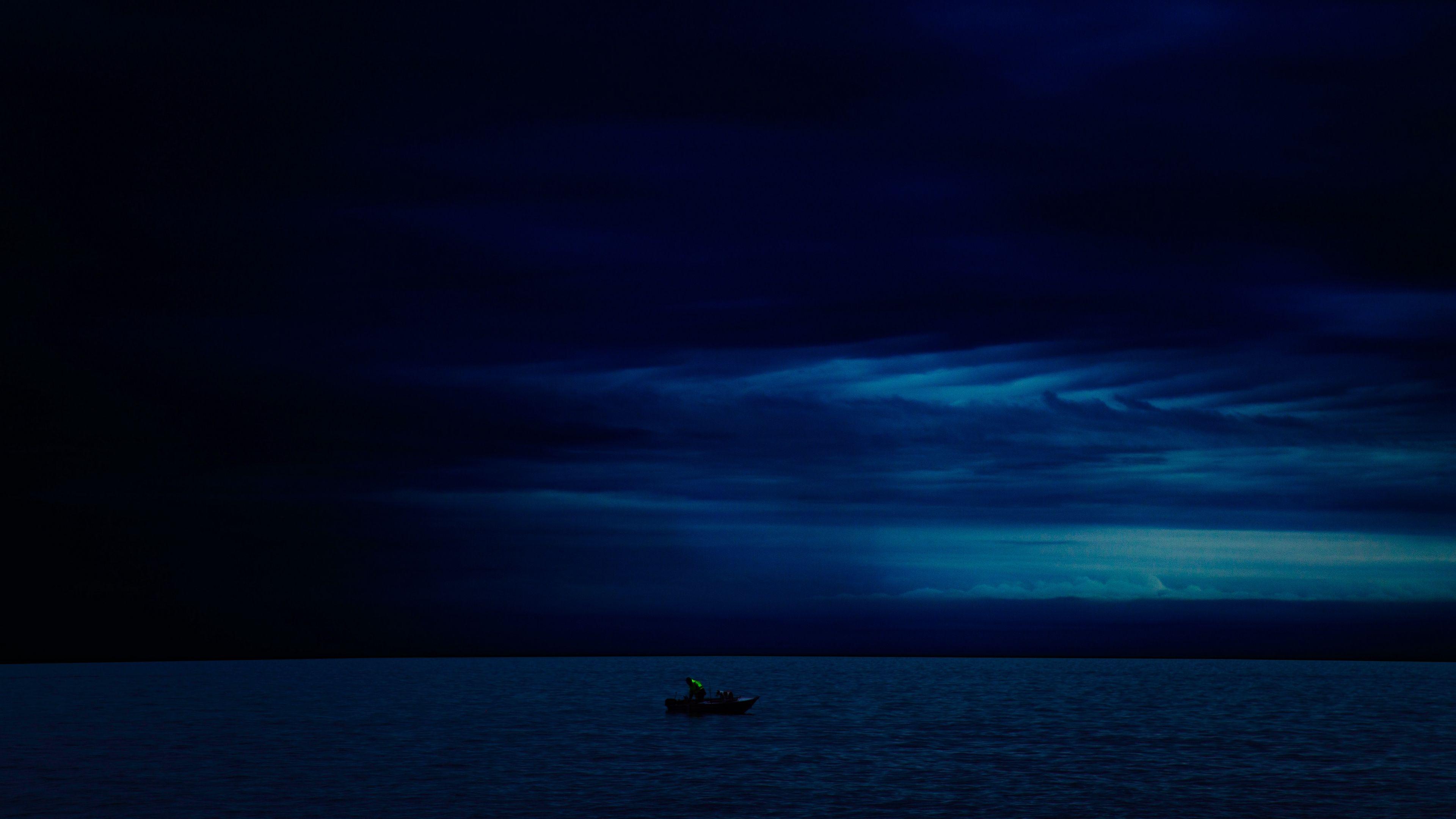 Boat Night Horizon Dark 4k Night Horizon Boat In 2020 Ocean Wallpaper Nature Wallpaper Night