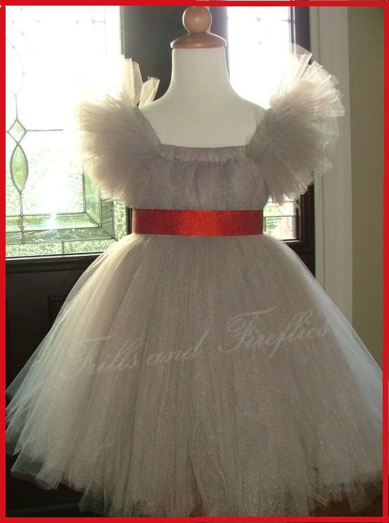 Silver Grey Flower Girl Tutu Dress with Red by FrillsandFireflies ...