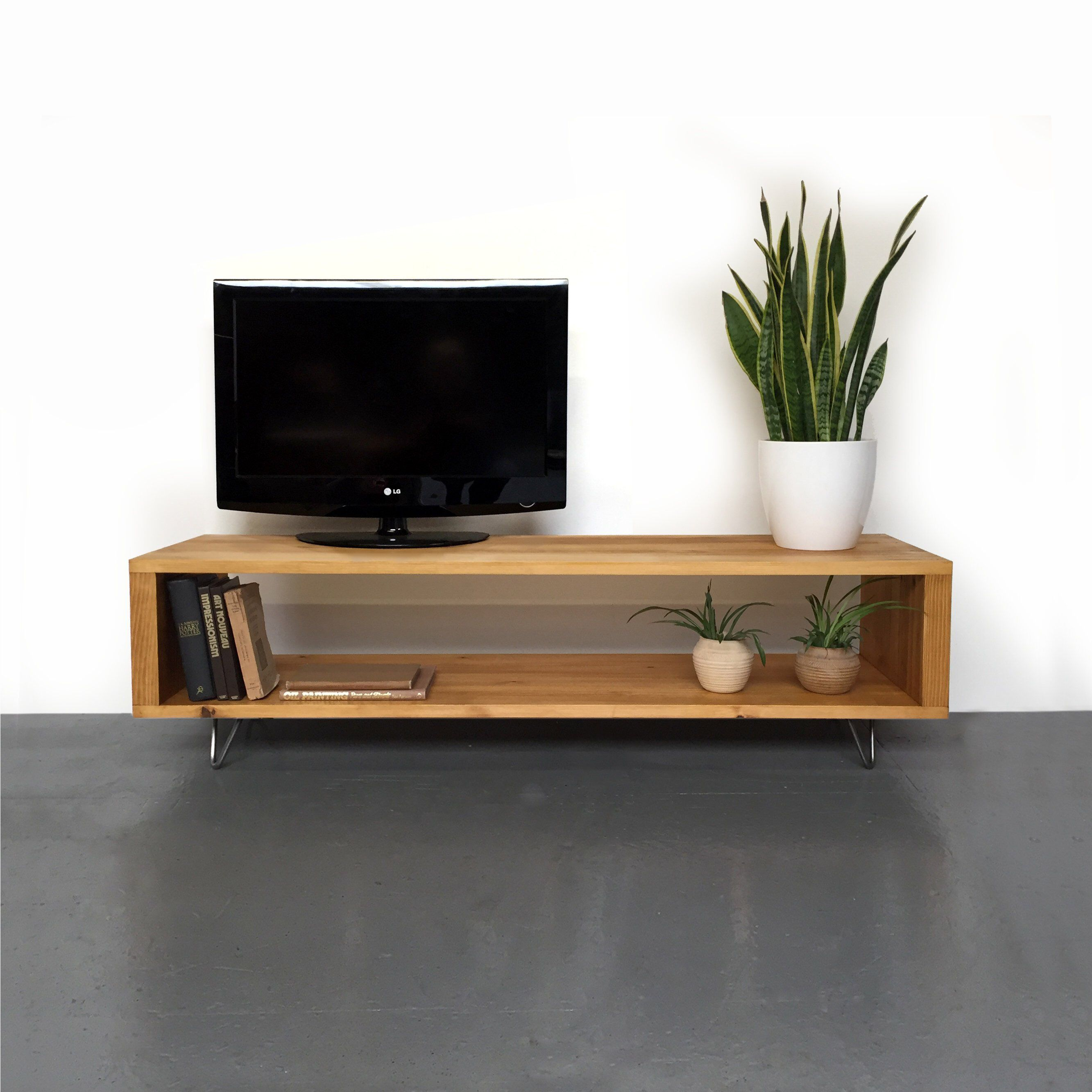 Low Solid Wood Large Tv Stand Coffee Table Media Unit On Mid Century Hairpin Legs Large And Medium Tv Stand And Coffee Table Large Tv Stands Tv Stand Designs [ 2666 x 2666 Pixel ]
