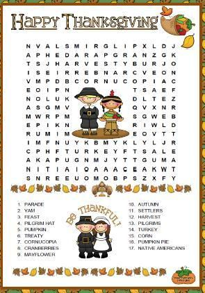 Thanksgiving Wordsearch Puzzle Party Planning Pinterest