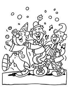 Kleurplaten Carnaval Clowns.Kleurplaat 3 Feestende Clowns Carnaval Kleurplaten Nl