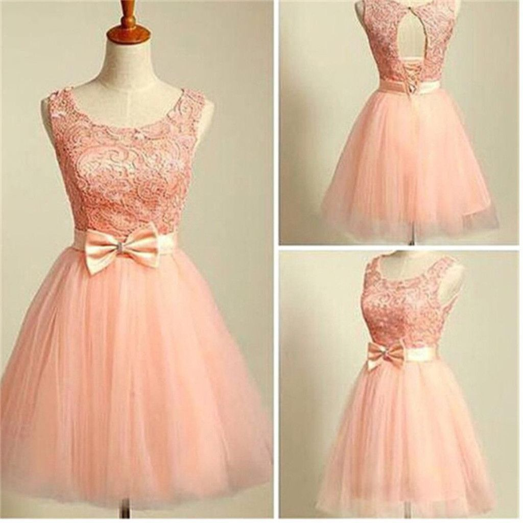 2017 peach pink lace lovely for teens modest formal homecoming prom ...