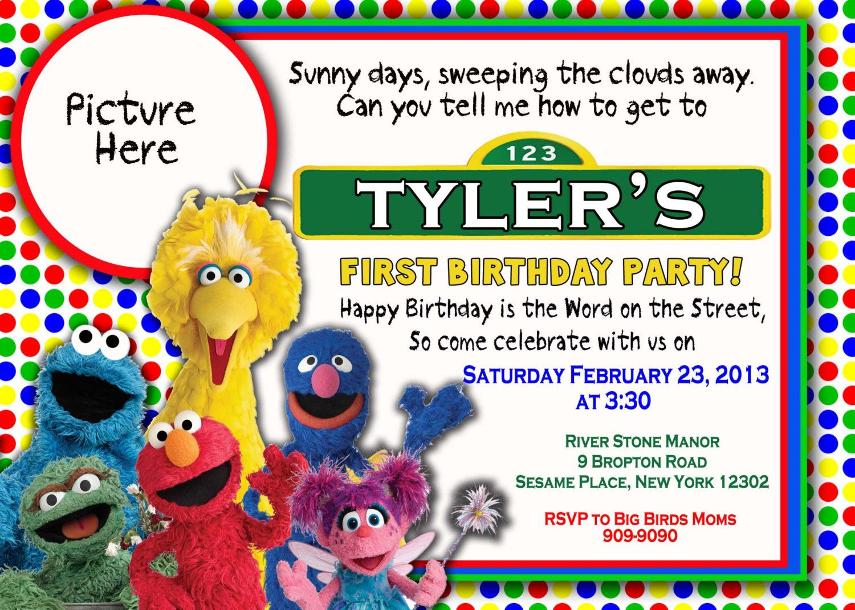 CUSTOM PHOTO Invitations Sesame Street Birthday Invitation
