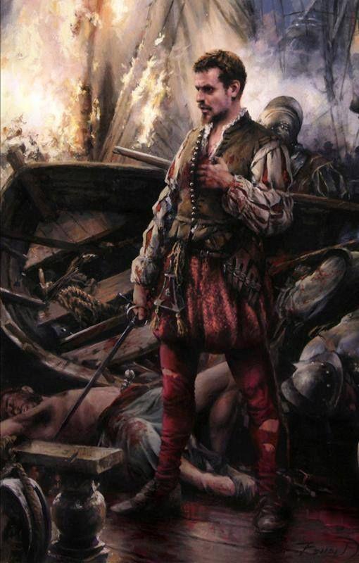 """""""Miguel de Cervantes"""", autor de """"Dom Quixote"""" e herói da batalha de Lepanto, na qual a Cristandade derrotou os turcos (por Augusto Ferrer-Dalmau)"""