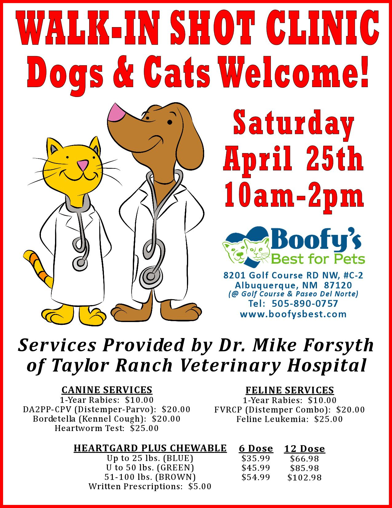 April 25 2015 Sat 10am 2pm Walk In Shot Clinic For Dogs And