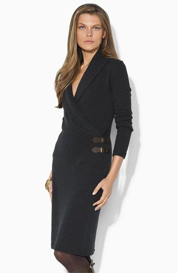 Lauren by Ralph Lauren Faux Wrap Sweater Dress $100.90