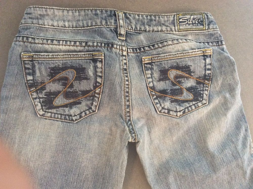 SILVER jeans TUESDAY Western Glove Works Womens 29/33 Distressed ...