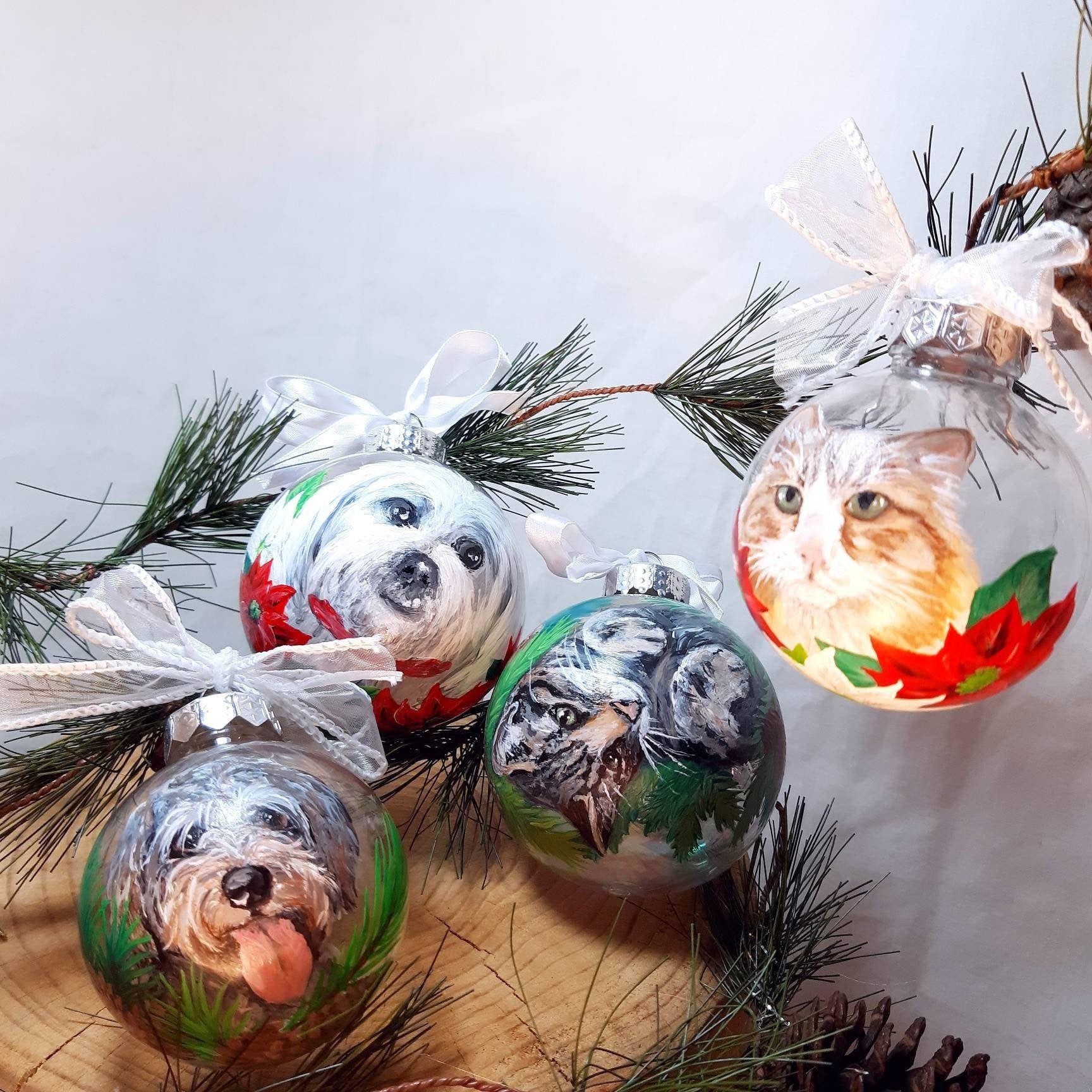 Custom pet portrait ornament hand painted christmas ball