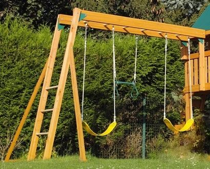 Wooden Monkey Bars And Triple Swing Set Kit Suitable For Existing