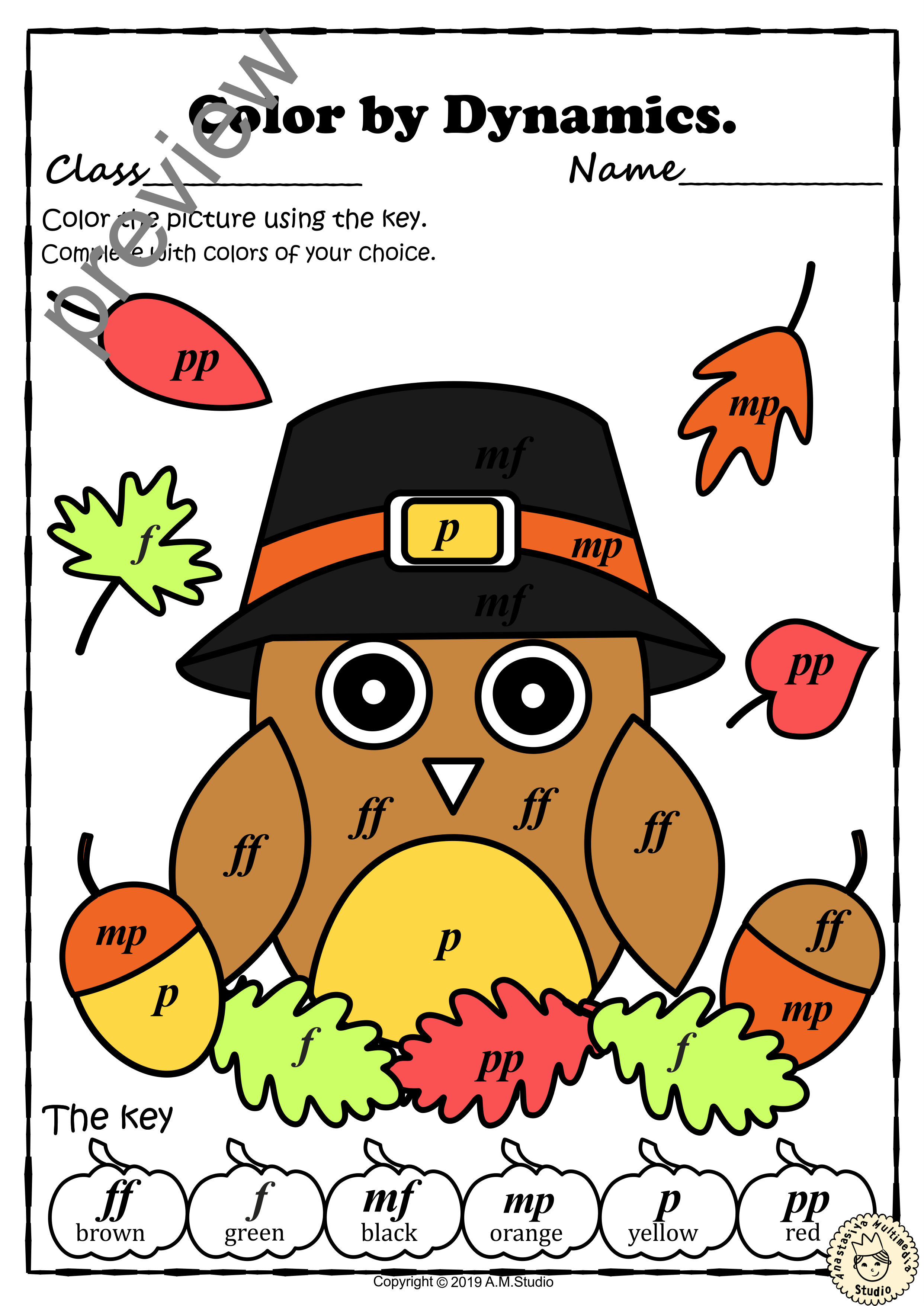 Thanksgiving Color By Music Pages With Answers