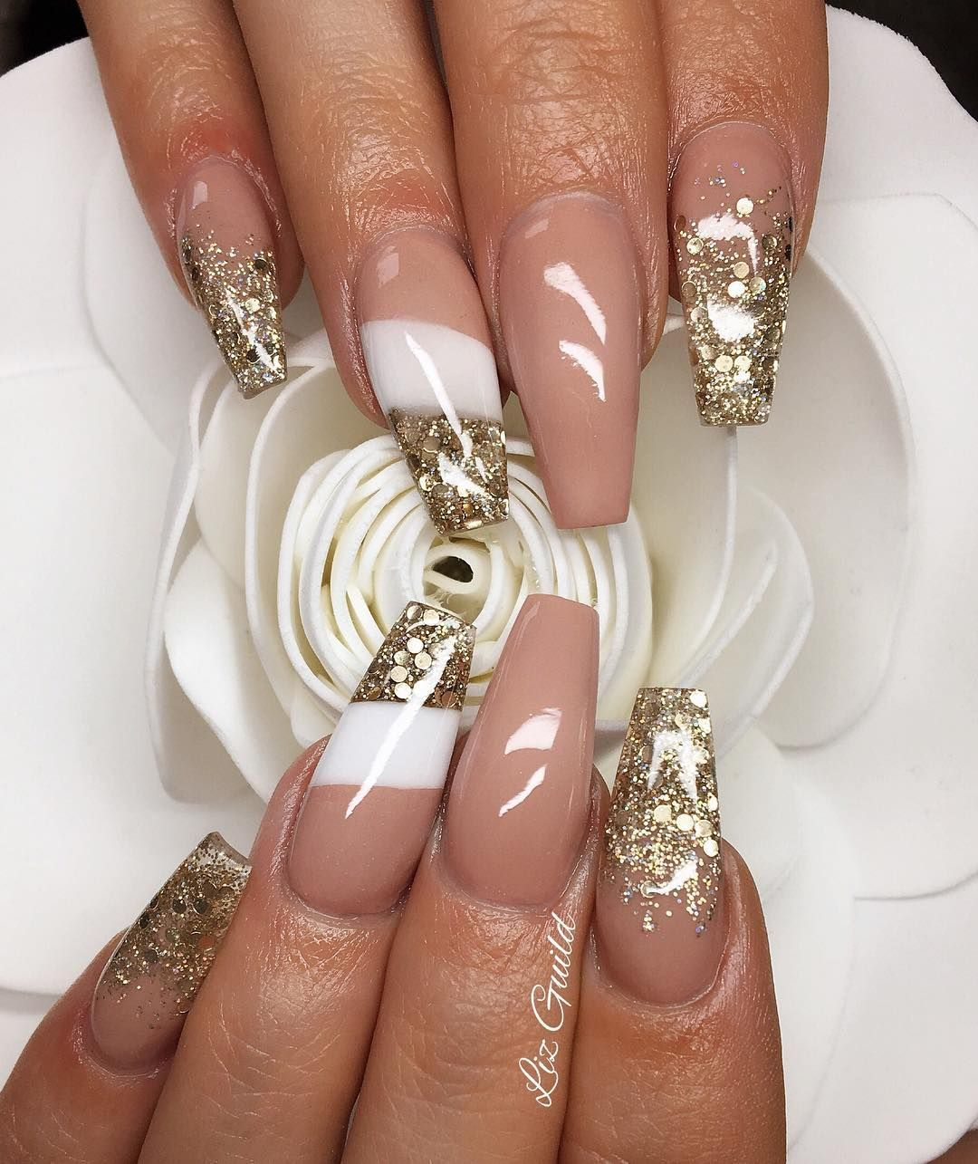 Nude + White + Gold Glitter / Flakes Long Coffin Nails #nail #nails ...