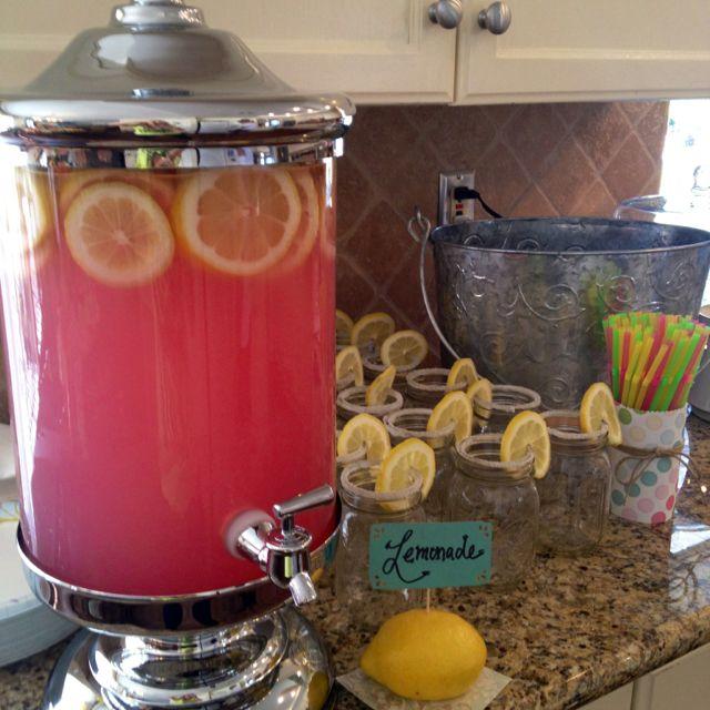 Pink Lemonade display, with sugar on the rim of mason jars