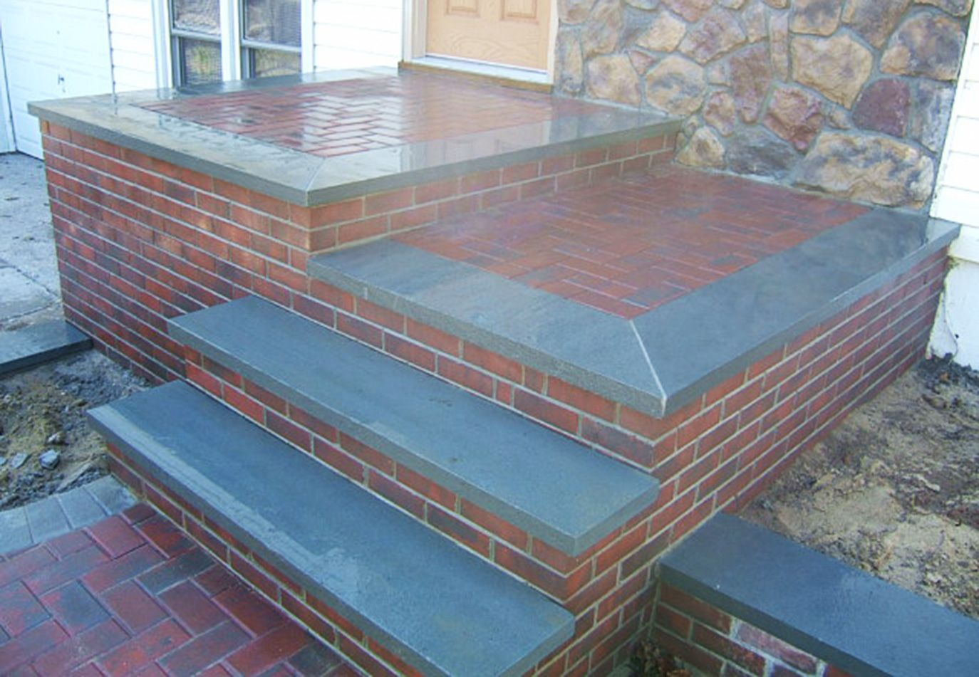 Brick And Bluestone Front Steps