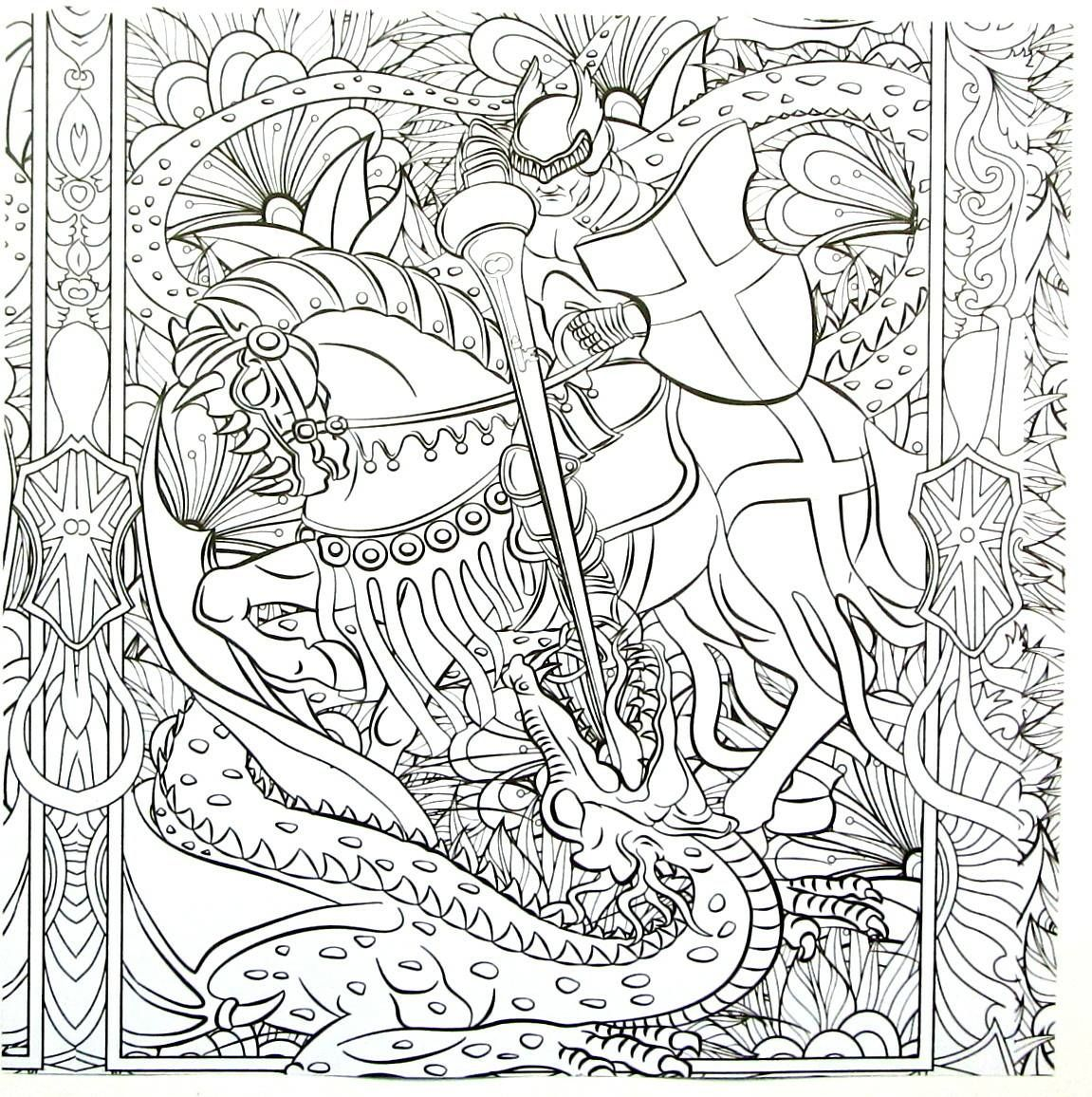 Knight On Horseback Fighting Dragon Detailed Coloring Book Page