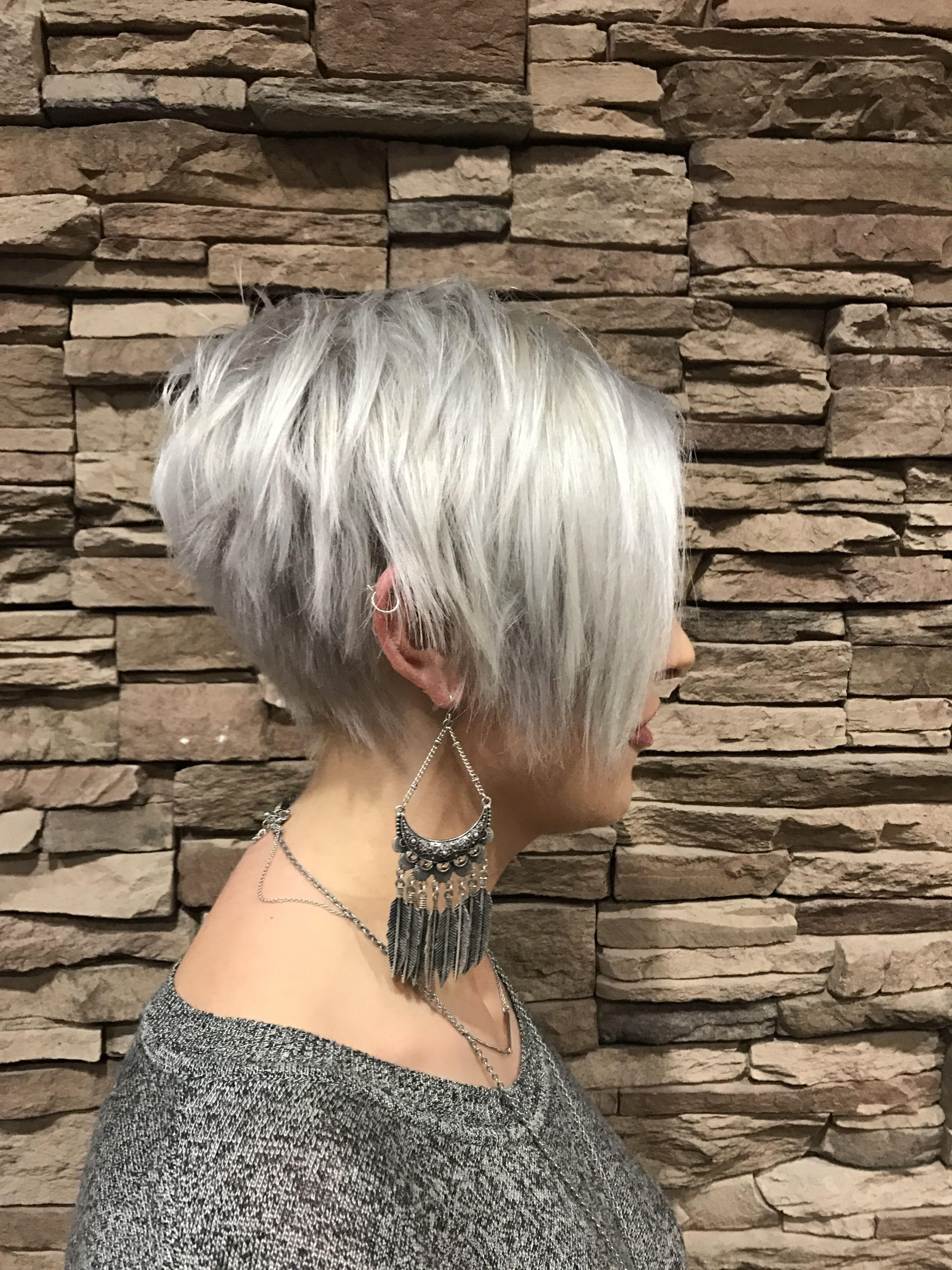platinum pixie cut blue highlights