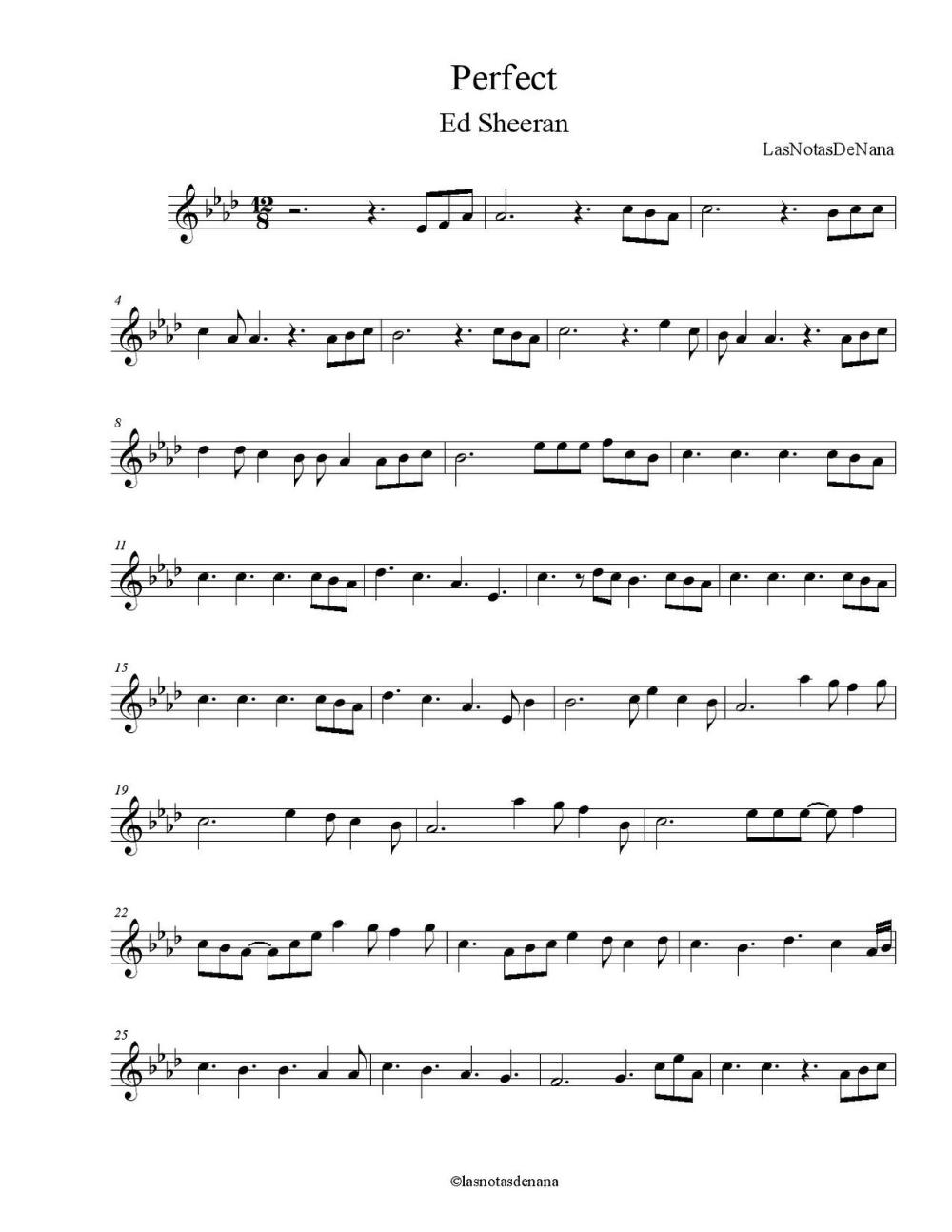 Partitura De La Cancion Perfect In 2020 Violin Sheet Music