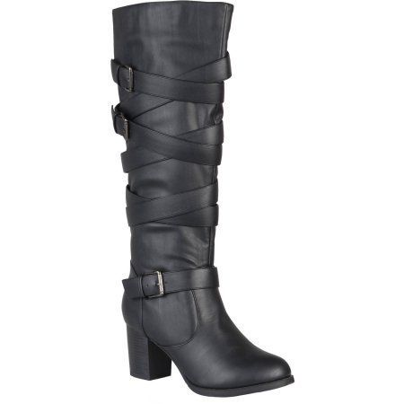 Brinley Co. Women's Wide Calf Strappy Buckle Detail Boots, Black