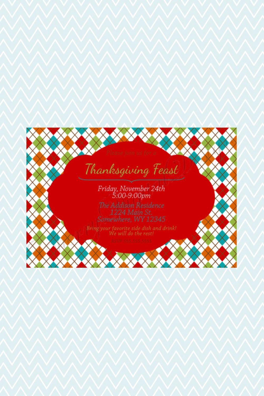 Fun Modern Turkey Thanksgiving Potluck Printable Invitation ...