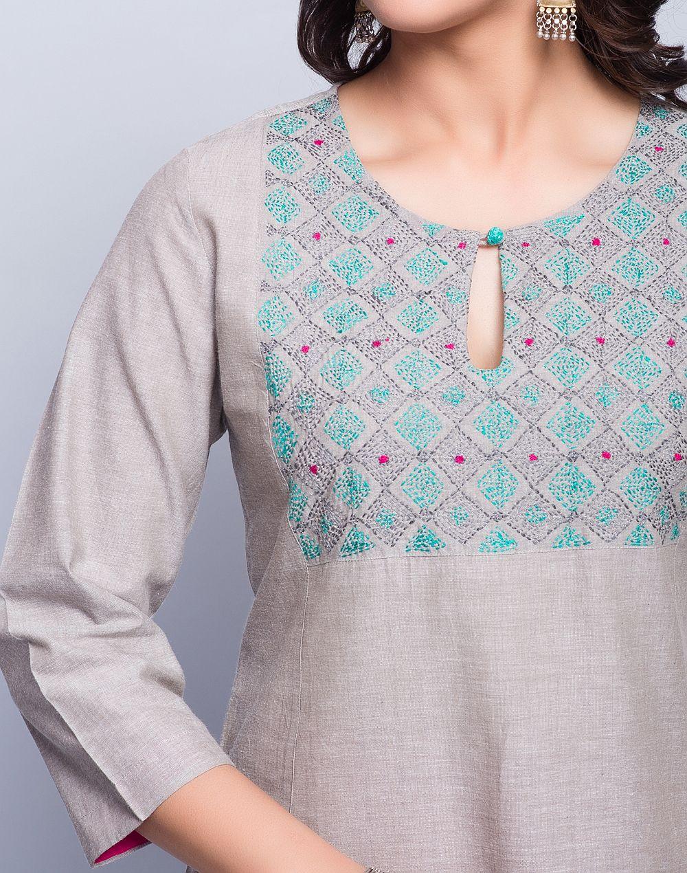 Cotton ChambrayPanelledSujni EmbroideredRound Neck3Q SleevesHand ...