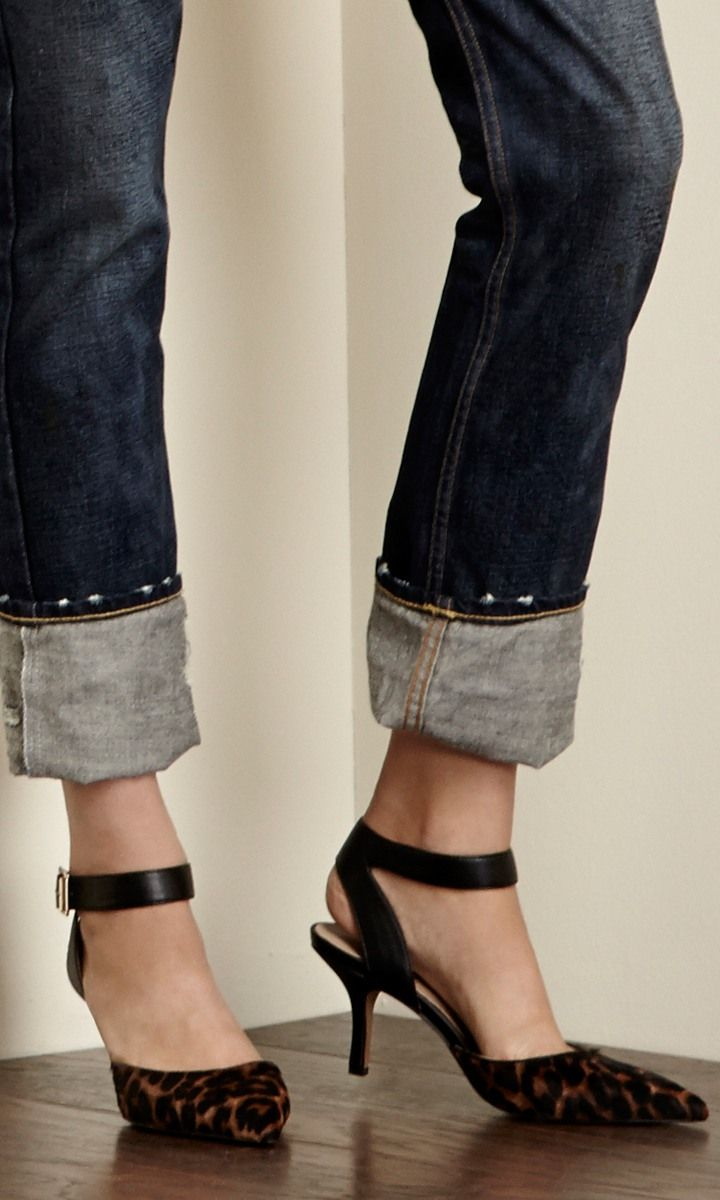 10a0d974a467 Pointed toe d orsay mid heel in genuine suede with adjustable ankle strap  and buckle detail.