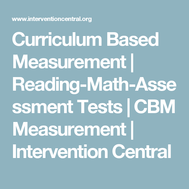 Curriculum Based Measurement | Reading-Math-Assessment Tests | CBM ...