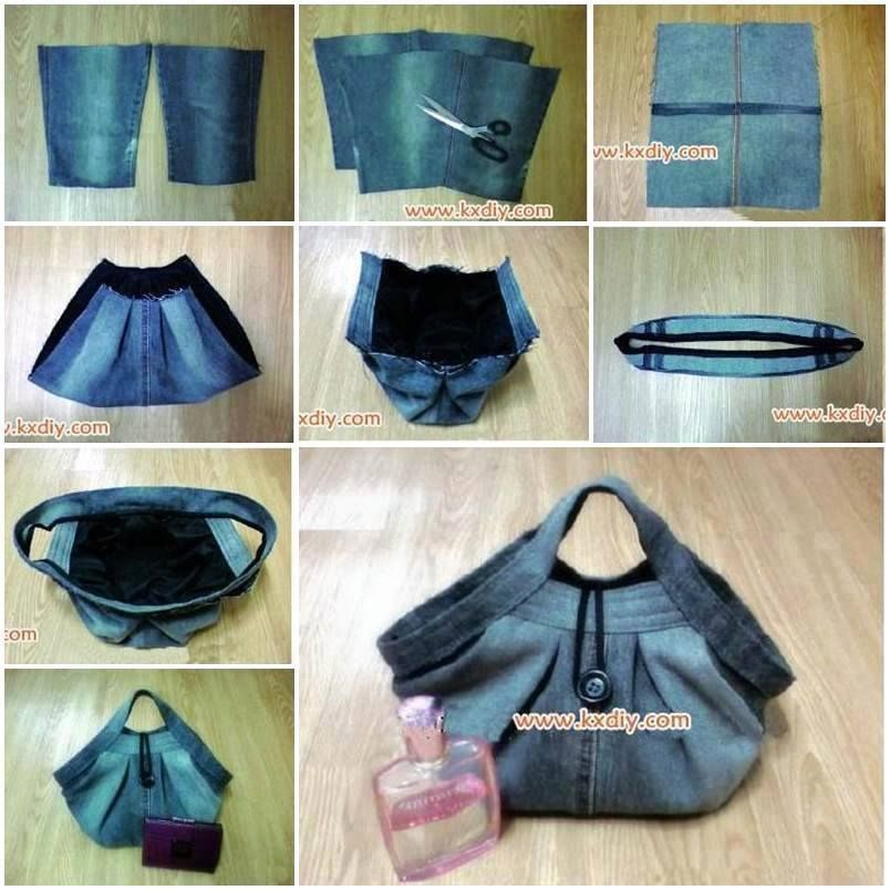 Pleated Denim Handbag Sewing Project