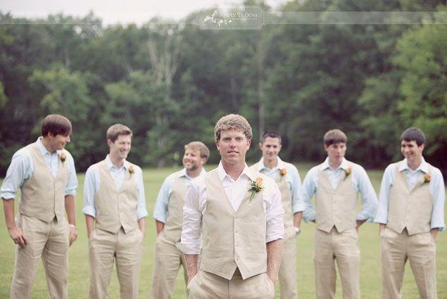 Linen Groomsmen Vests Different Colored Shirts Groom