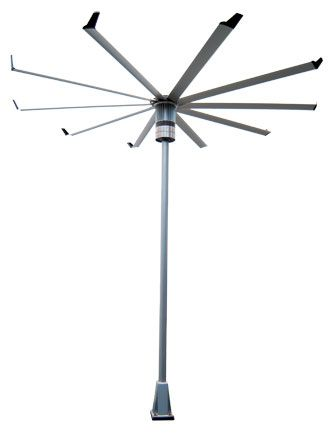 Fans Isis On A Stick Outdoor Fan In Aircraft Grade Aluminum With Powdercoated Steel Pole And Mounting Structure By