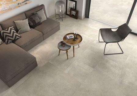 Home inspiration. beige keramische tegel. 1 look voor binnen en