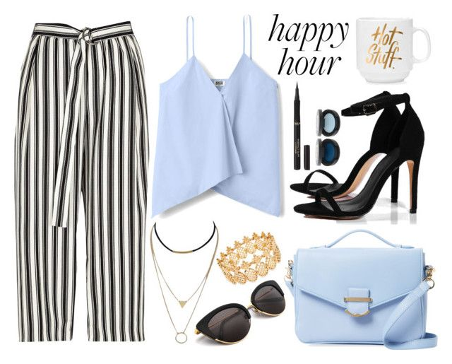 """Striped Pants + Wrap Top"" by random11-1 ❤ liked on Polyvore featuring River Island, Boohoo, Cynthia Rowley, INC International Concepts, L'Oréal Paris and happyhour"