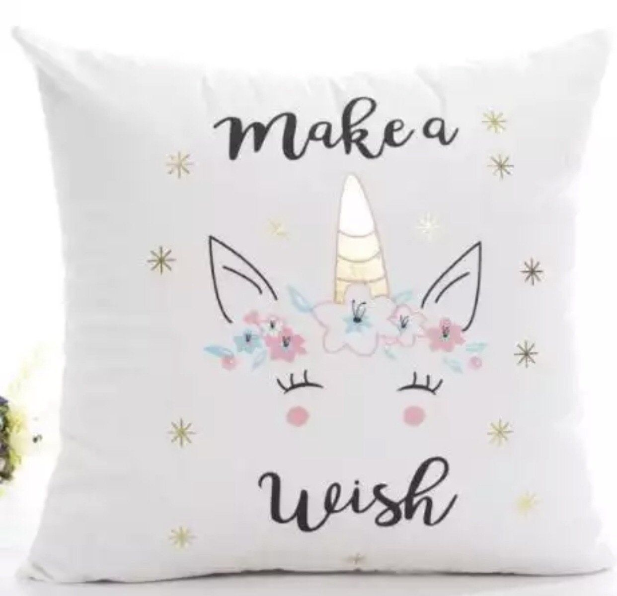 Make a wish unicorn pillow case eith gold foil make a wish