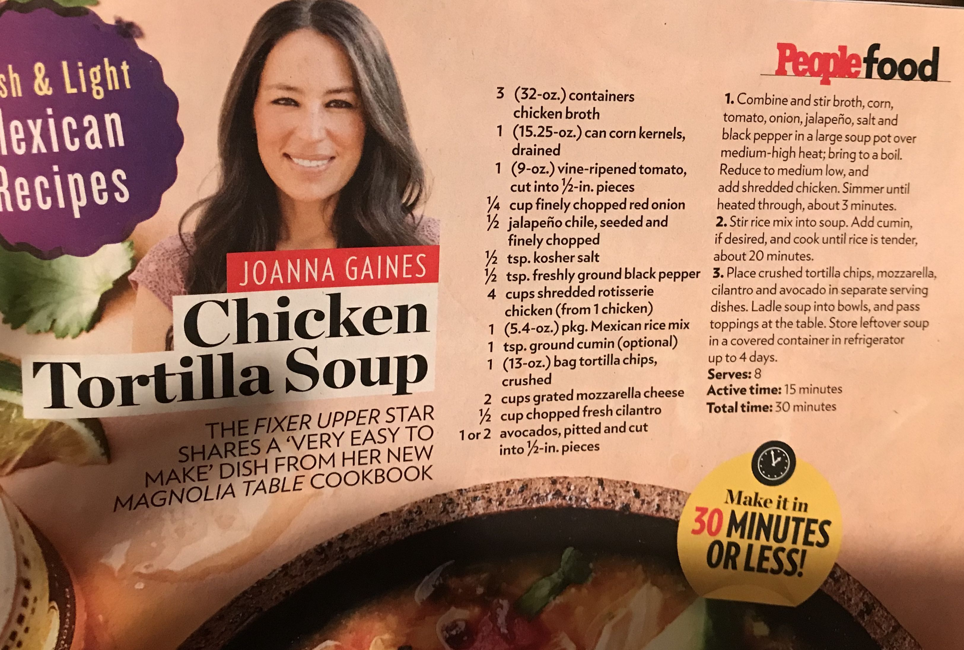 Joanna Gaines Chicken Tortilla Soup People Mag Chicken Tortilla Soup Tortilla Soup Chicken