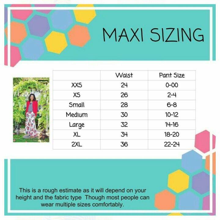 f5ae58ab9ab Maxi skirt sizing with measurements Lularoe Lucy Sizing