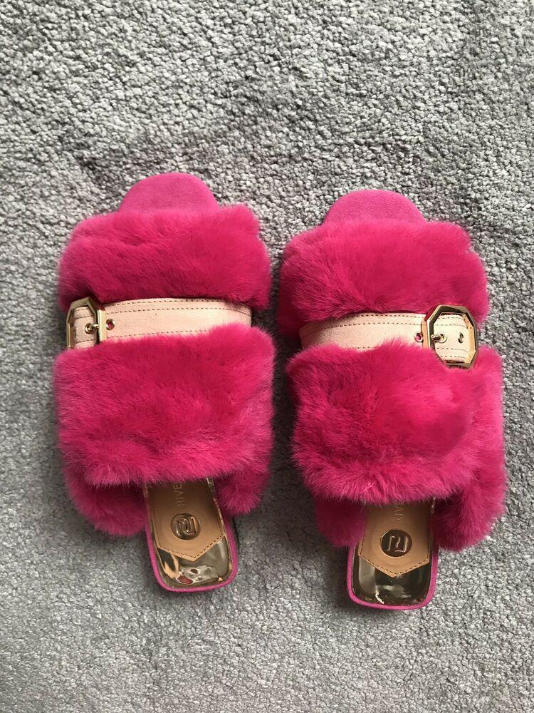 7244ede4790ac River Island Pink Fluffy Fur Slider Slippers! UK6! Sold Out!   Mule ...