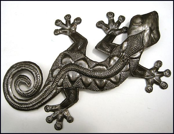 Extra Large Gecko Wall Hanging - Handcrafted Recycled Steel Drum Art - 27