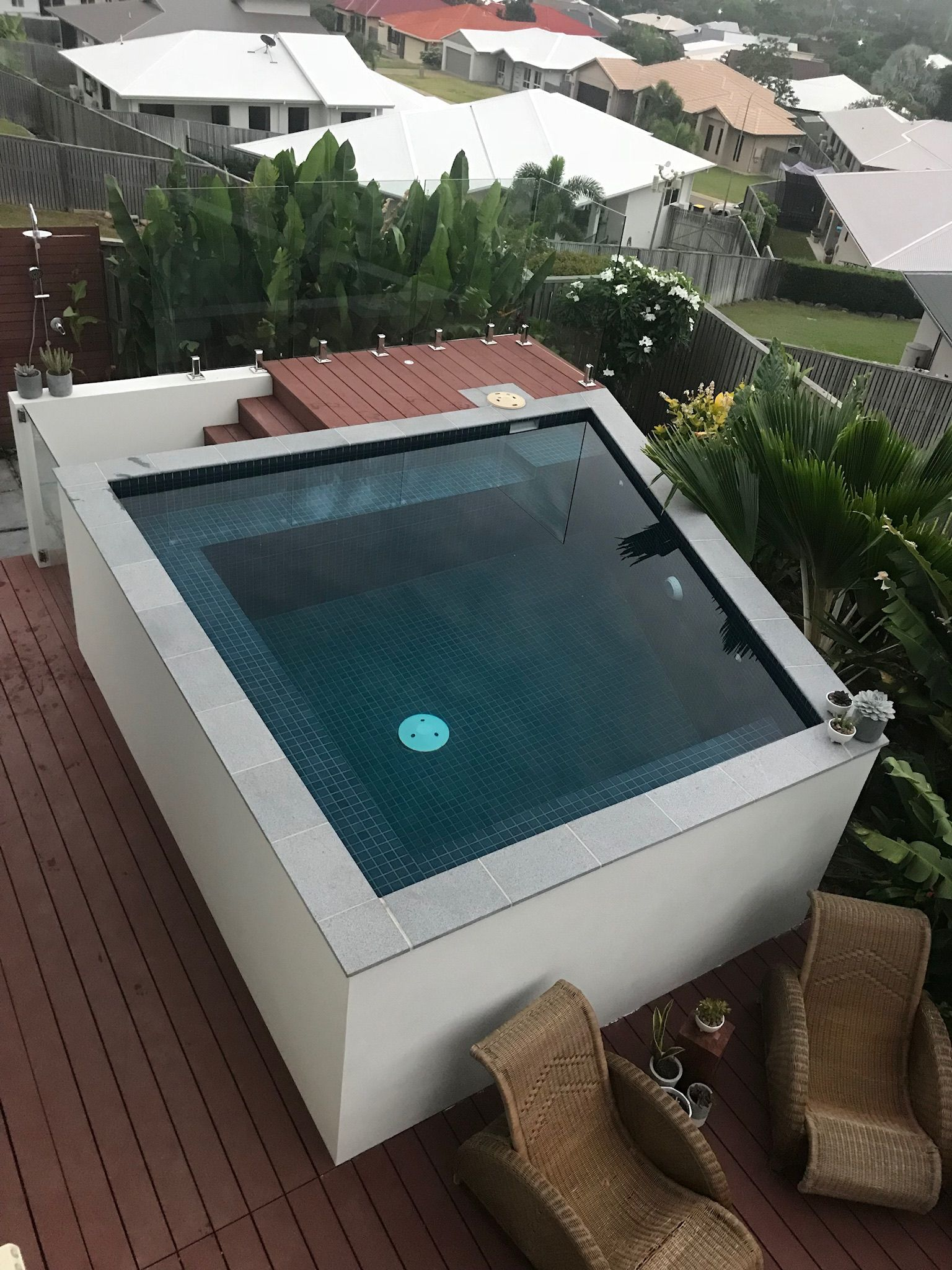 Plunge Pool Above Ground Fully Tiled Echo Decking Glass Gate