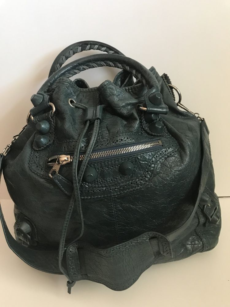 Auth BALENCIAGA Large Pompon Drawstring Dark Green Leather Shoulder Handbag   BALENCIAGA  Handbag  shoulderhandbags e95b8a1141324