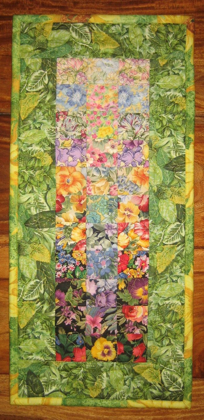 Table Runner, Small Art Quilt, Garden Flowers Handmade Wall Decor by TahoeQuilts on Etsy