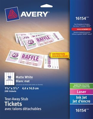 photograph relating to Printable Tickets With Tear Away Stubs titled Avery Tickets with Tear-Absent Stubs, White, 1-3/4\