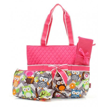 Quilted Owl Chevron Diaper Bag - Pink