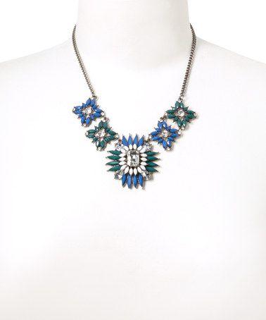 Look what I found on #zulily! Silver & Blue Rhinestone Statement Bib Necklace #zulilyfinds