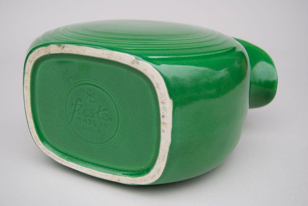 Vintage Fiestaware Medium Green Disk Water Pitcher, Rare Fiesta