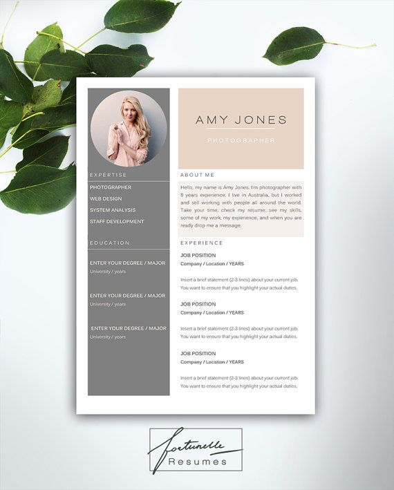 Resume Template 3 page   CV Template Cover by FortunelleResumes - pretty resume templates