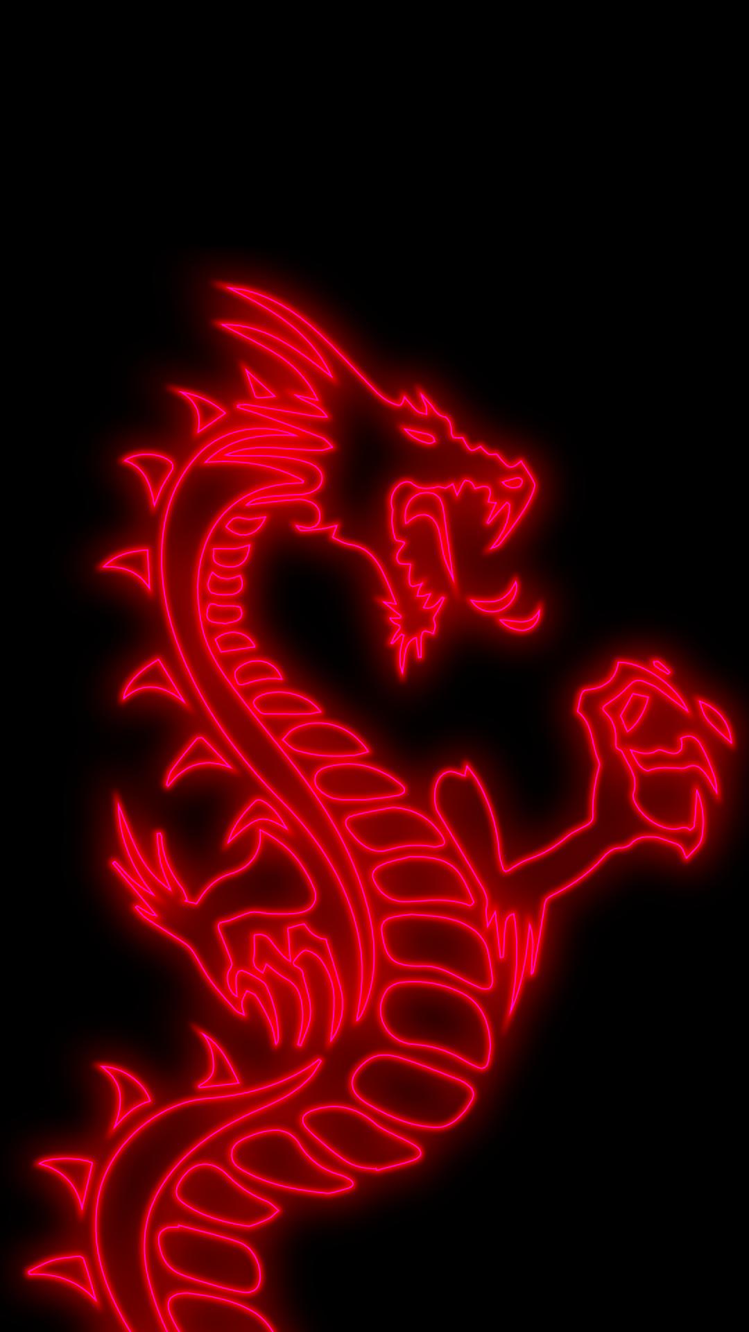 1080p wallpaper phone Amoled neon Dragon Background