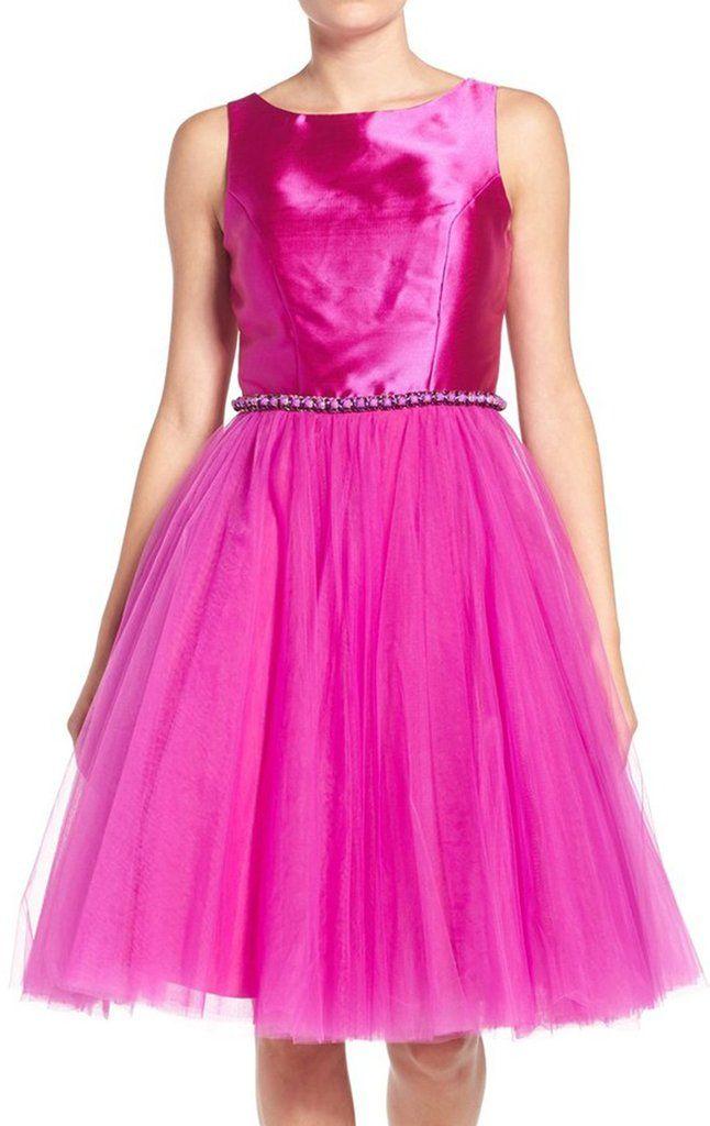 Straps Taffeta Tulle Short Prom Dress Fuchsia Homecoming Formal Gown ...
